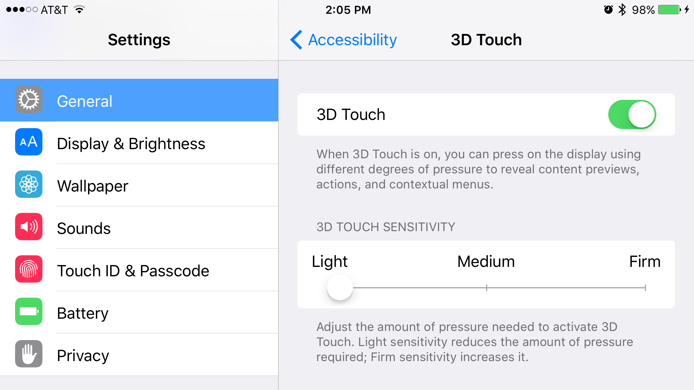 3D Touch pressure