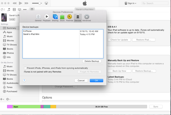 Checking backup in iTunes 12