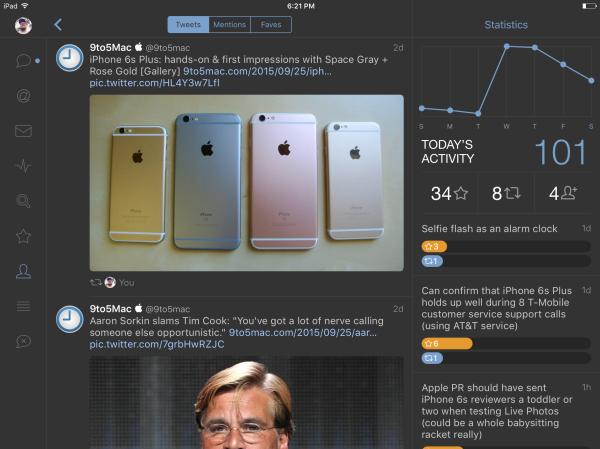 Tweetbot 4 for iOS adds redesigned iPad UI and new activity