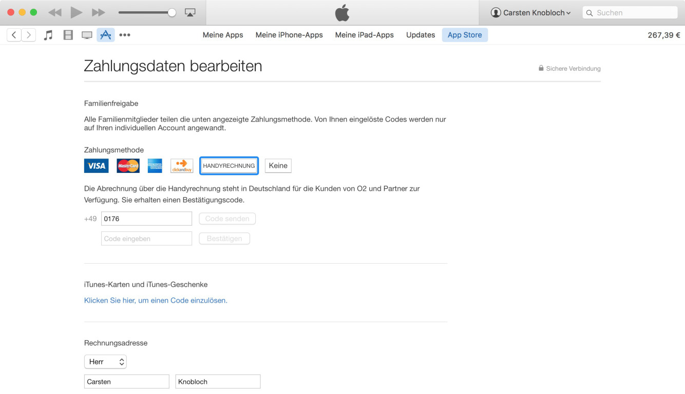 iTunes carrier billing