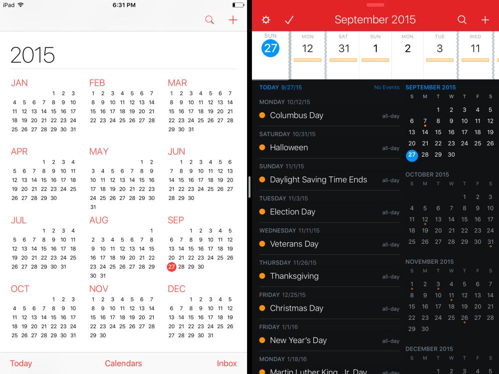 Fantastical iPad Split View