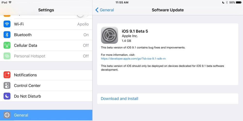 iOS 9.1 beta 5 2:1