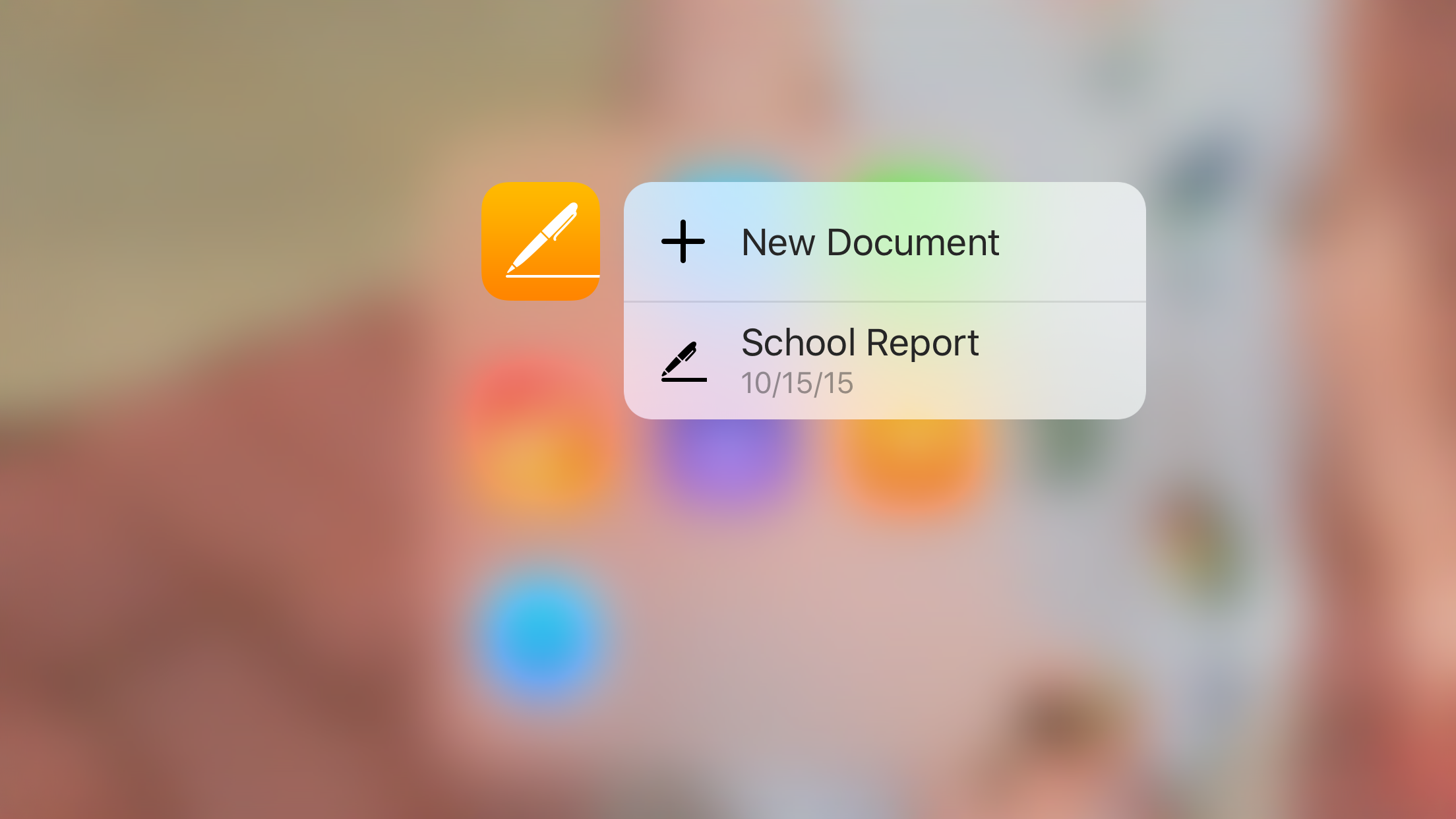 Pages for iOS 3D Touch