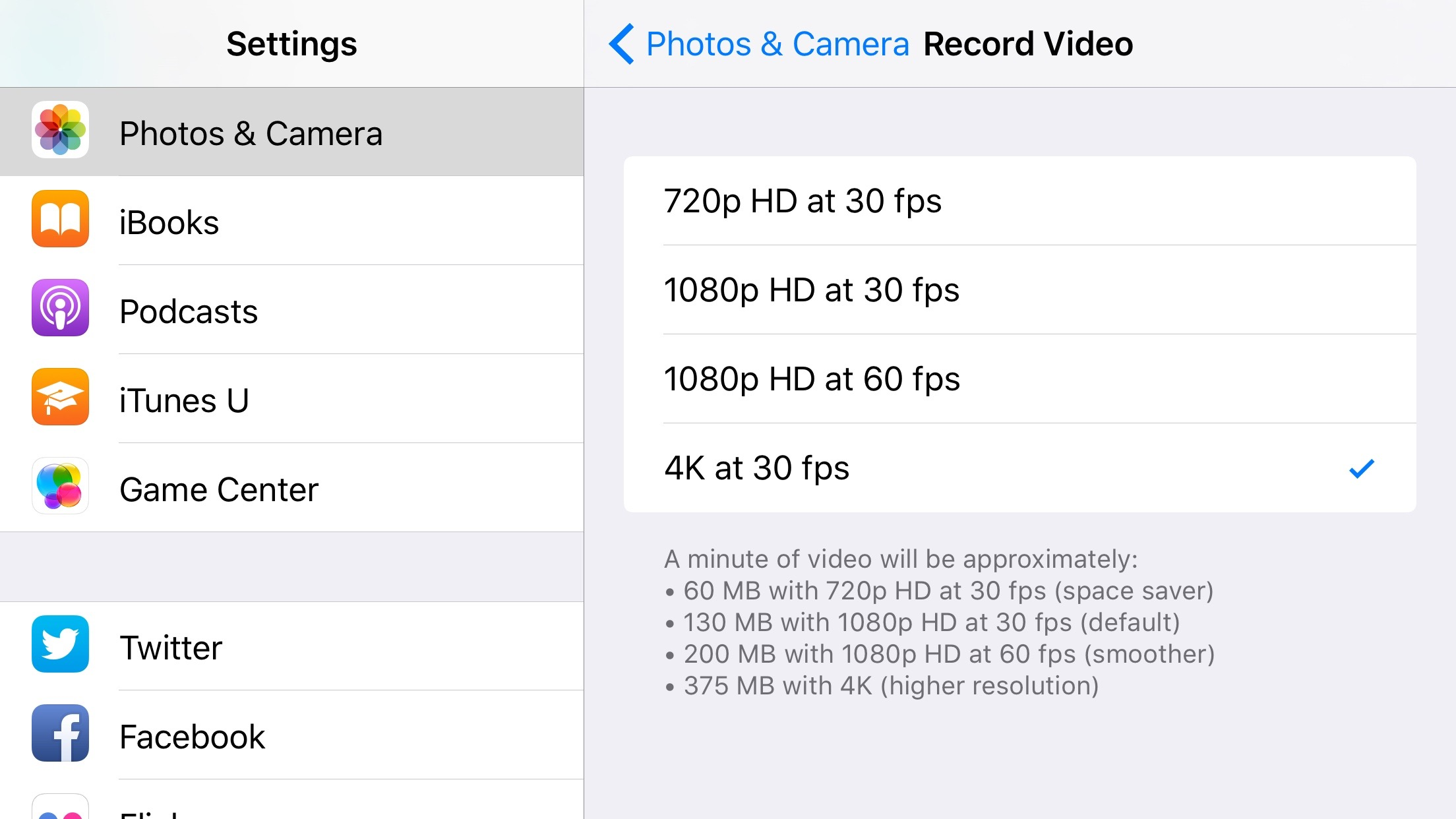 iPhone 6s Plus video settings