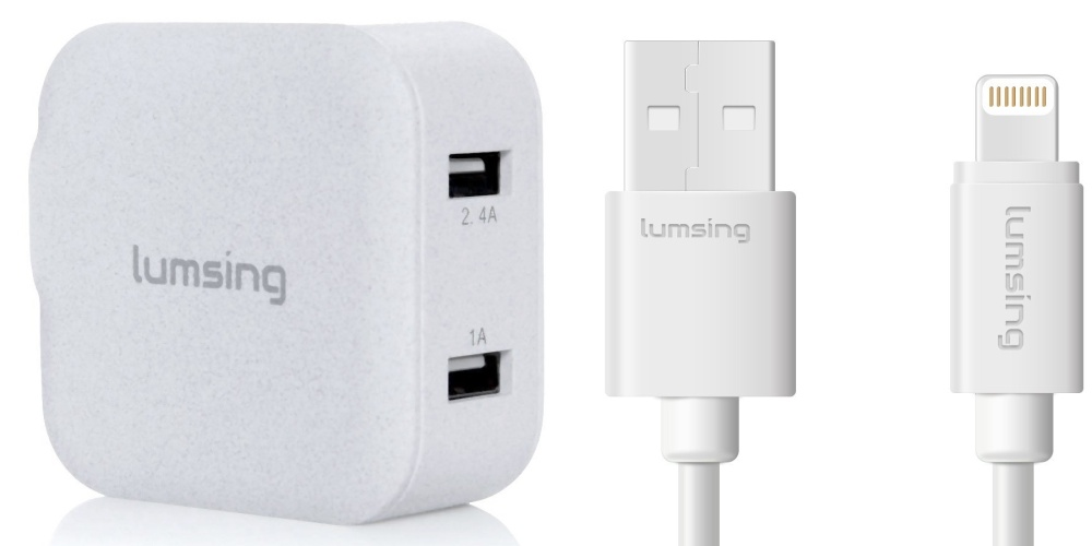 lumsing-dual-port-wallcharger-and-lightning-cable