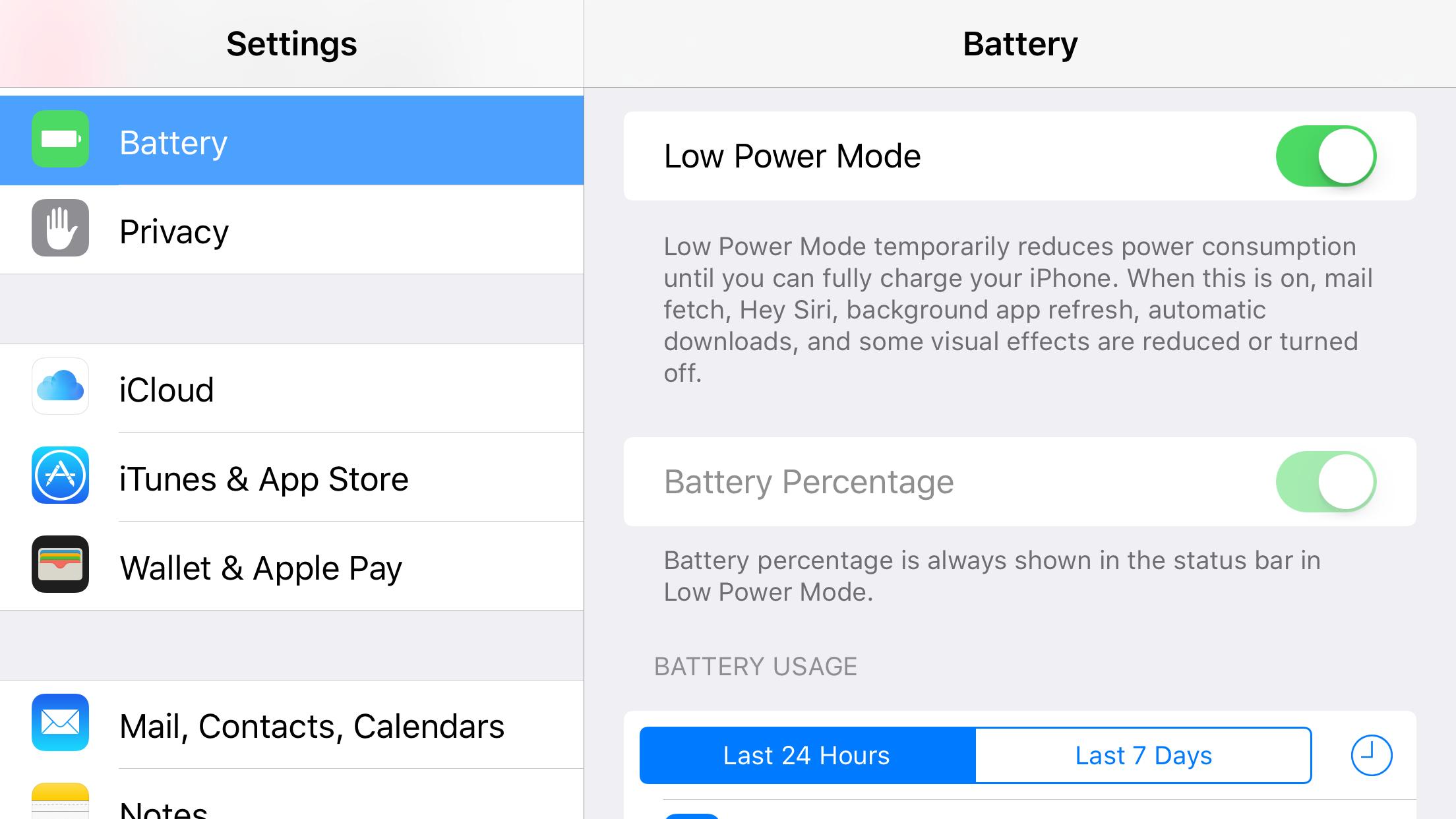 iOS 9 battery