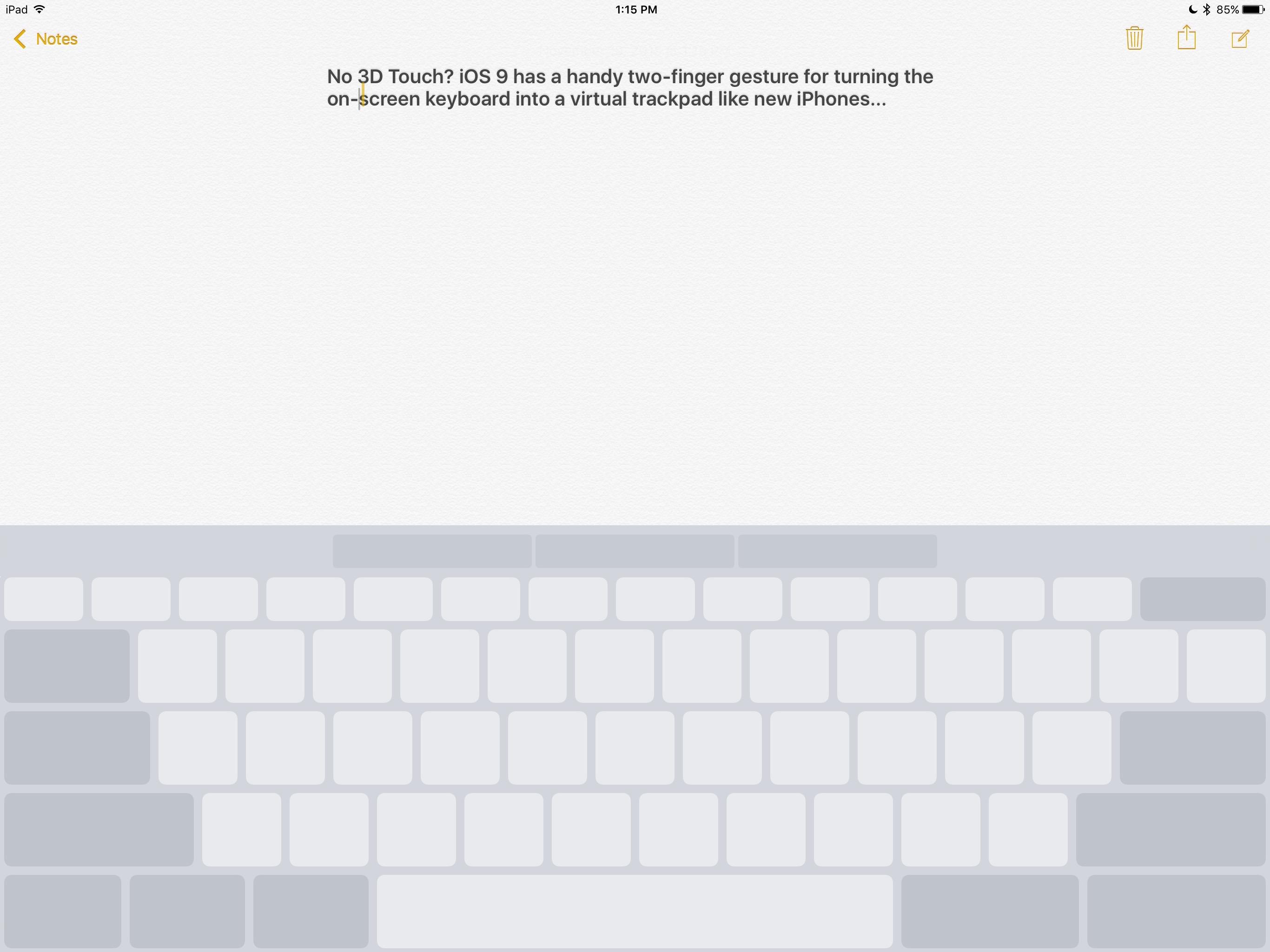 iPad Pro cursor gesture