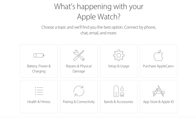 Apple Watch support options