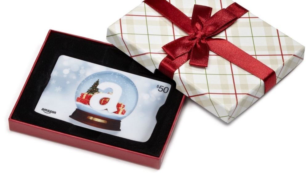 Amazon Gift Card in a Plaid Gift Box
