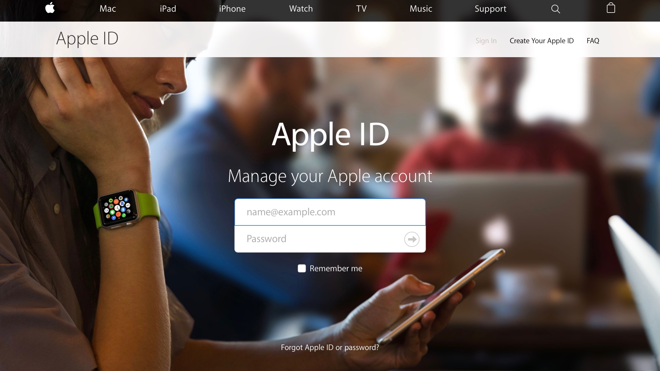 Apple ID web portal
