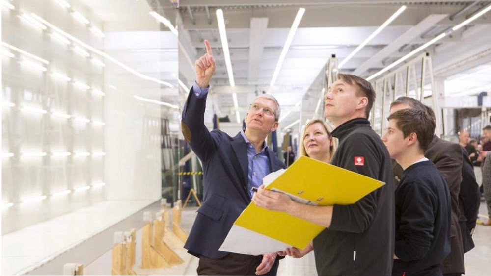 Tim Cook in Augsburg, Germany inspecting panels for Apple Campus 2