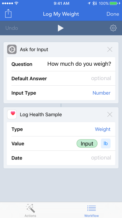 Showing Workflow automation tool for Log My Weight workflow