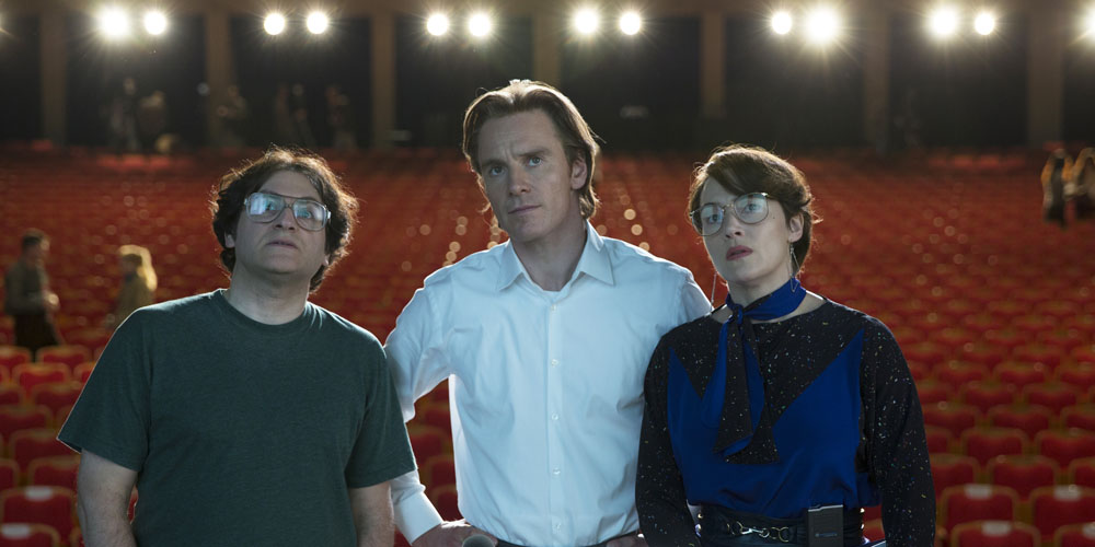 "This photo provided by Universal Pictures shows, Michael Stuhlbarg, from left, as Andy Hertzfeld, Michael Fassbender as Steve Jobs, and Kate Winslet as Joanna Hoffman, in a scene from the film, ""Jobs."" (Francois Duhamel/Universal Pictures via AP) ORG XMIT: CAET760"