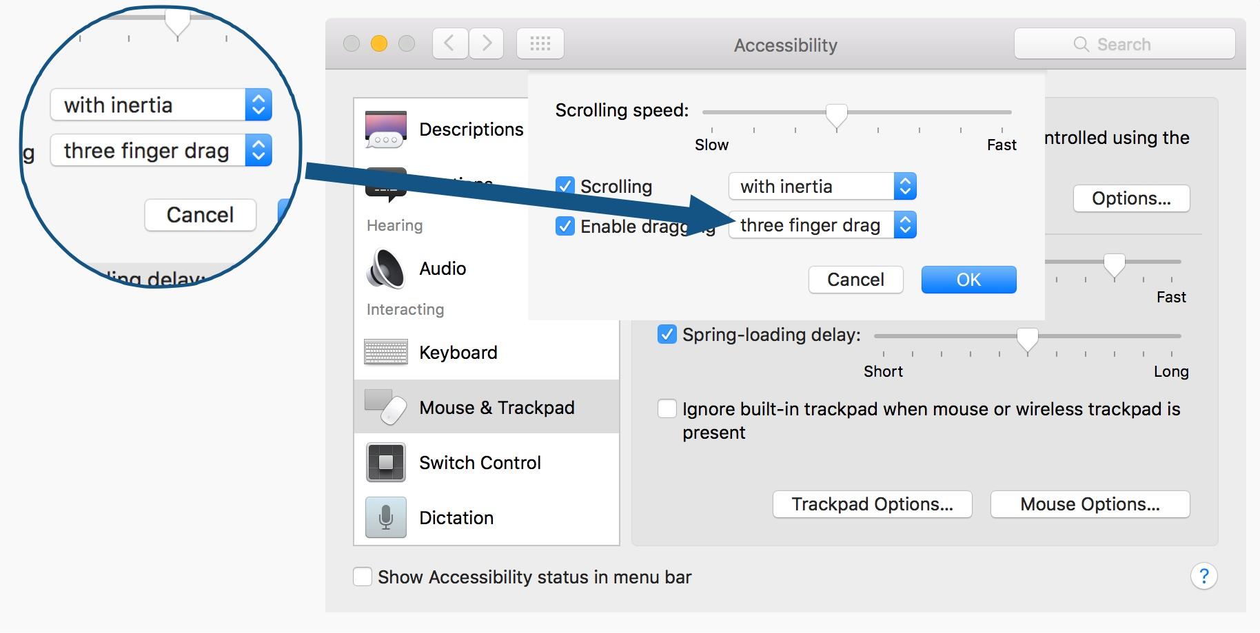 Enable Three Finger Drag Trackpad OS X