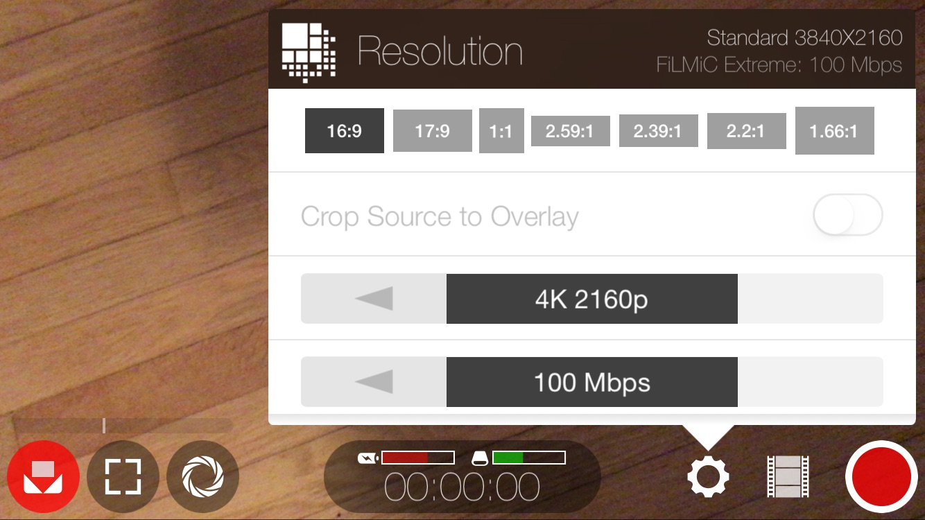 FiLMiC Pro Resolution Settings