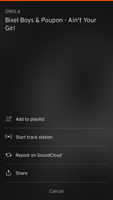 A close up screenshot showing Soundcloud on iOS' 'Start track station' feature