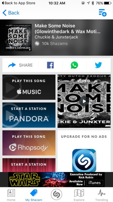 Screenshot showing the details of a song discovered using Shazam