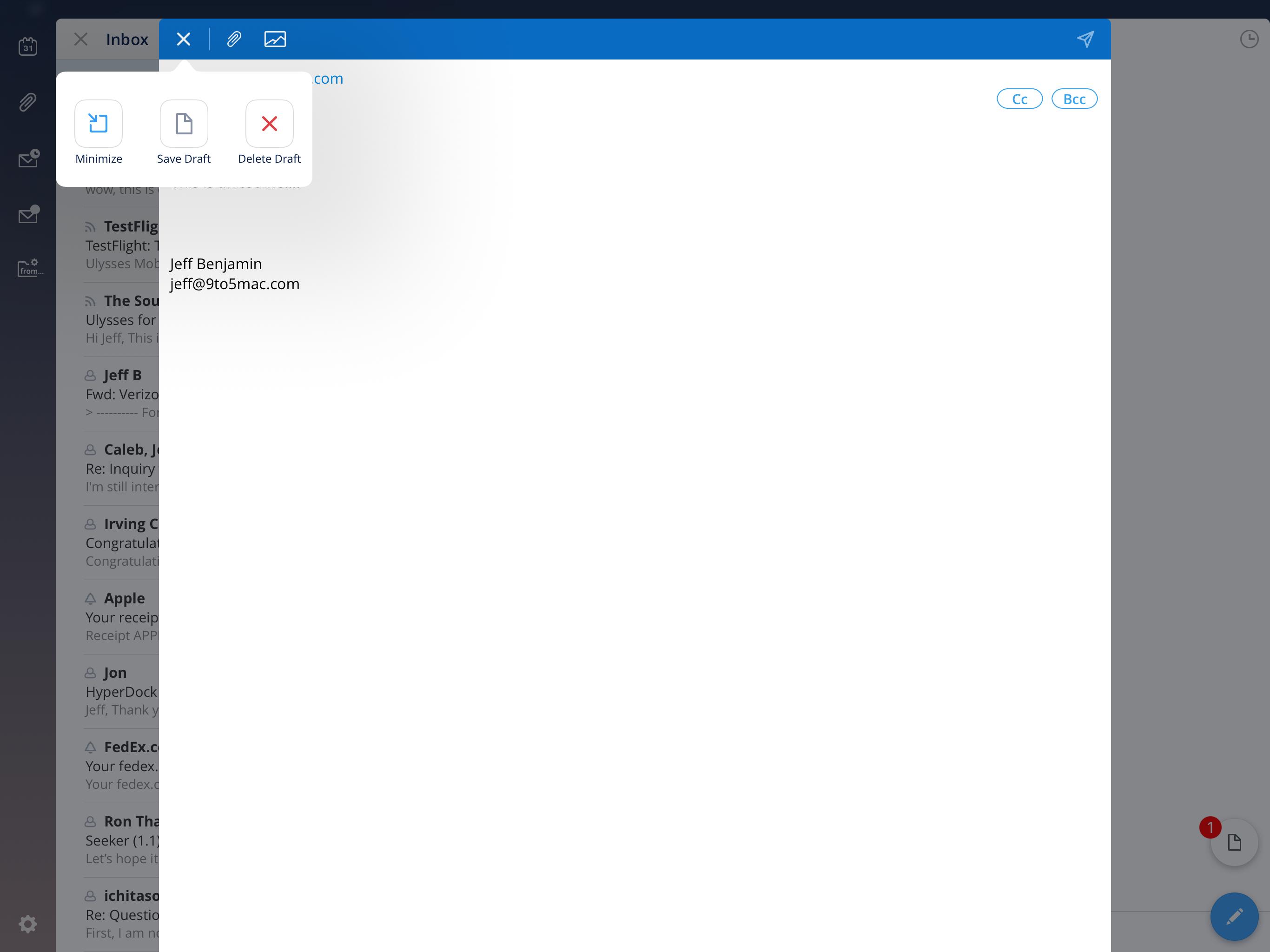 Spark Minimize Email