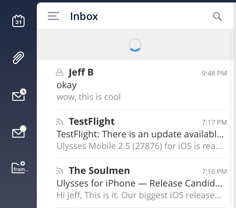 Spark Pull to Refresh email inbox