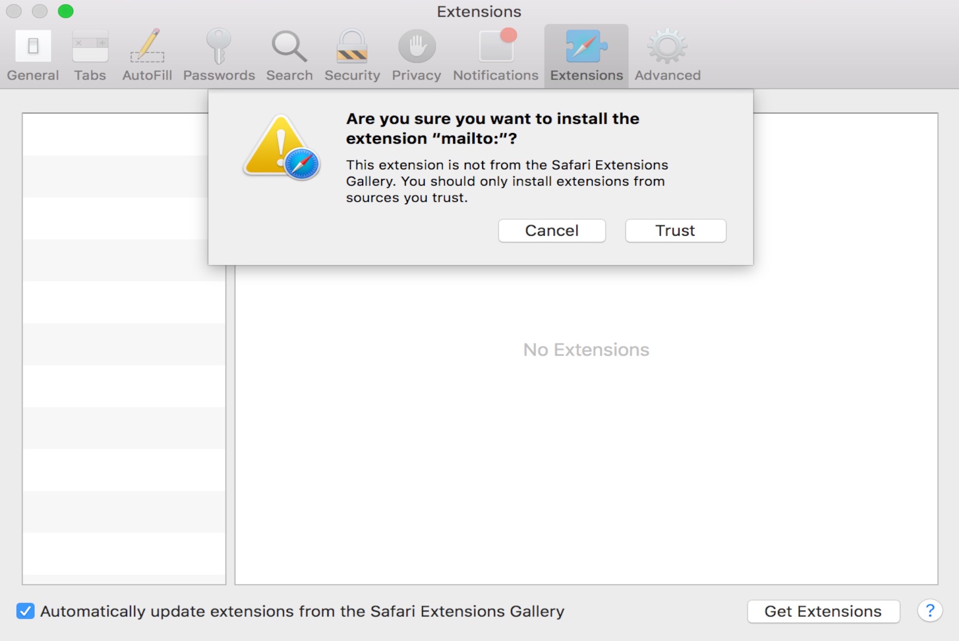 Trust Safari extension
