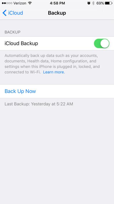 iOS 9.2.1 iCloud Backup