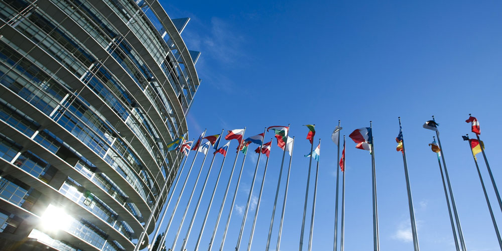Flags wave in front of the European Parliament in Strasbourg