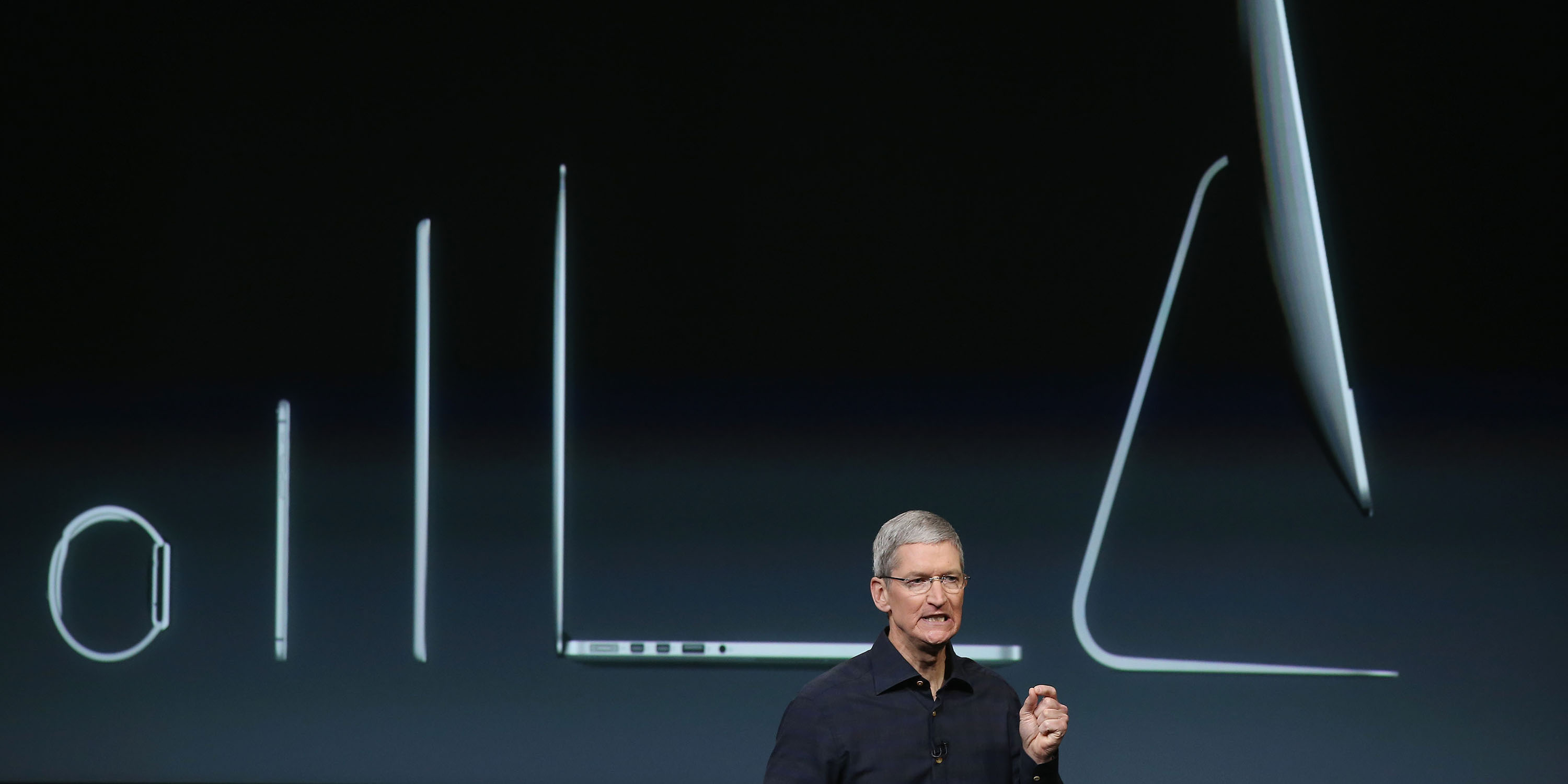 CUPERTINO, CA - OCTOBER 16: Apple CEO Tim Cook speaks during an event introducing new iPads at Apple's headquarters October 16, 2014 in Cupertino, California. (Photo by Justin Sullivan/Getty Images)