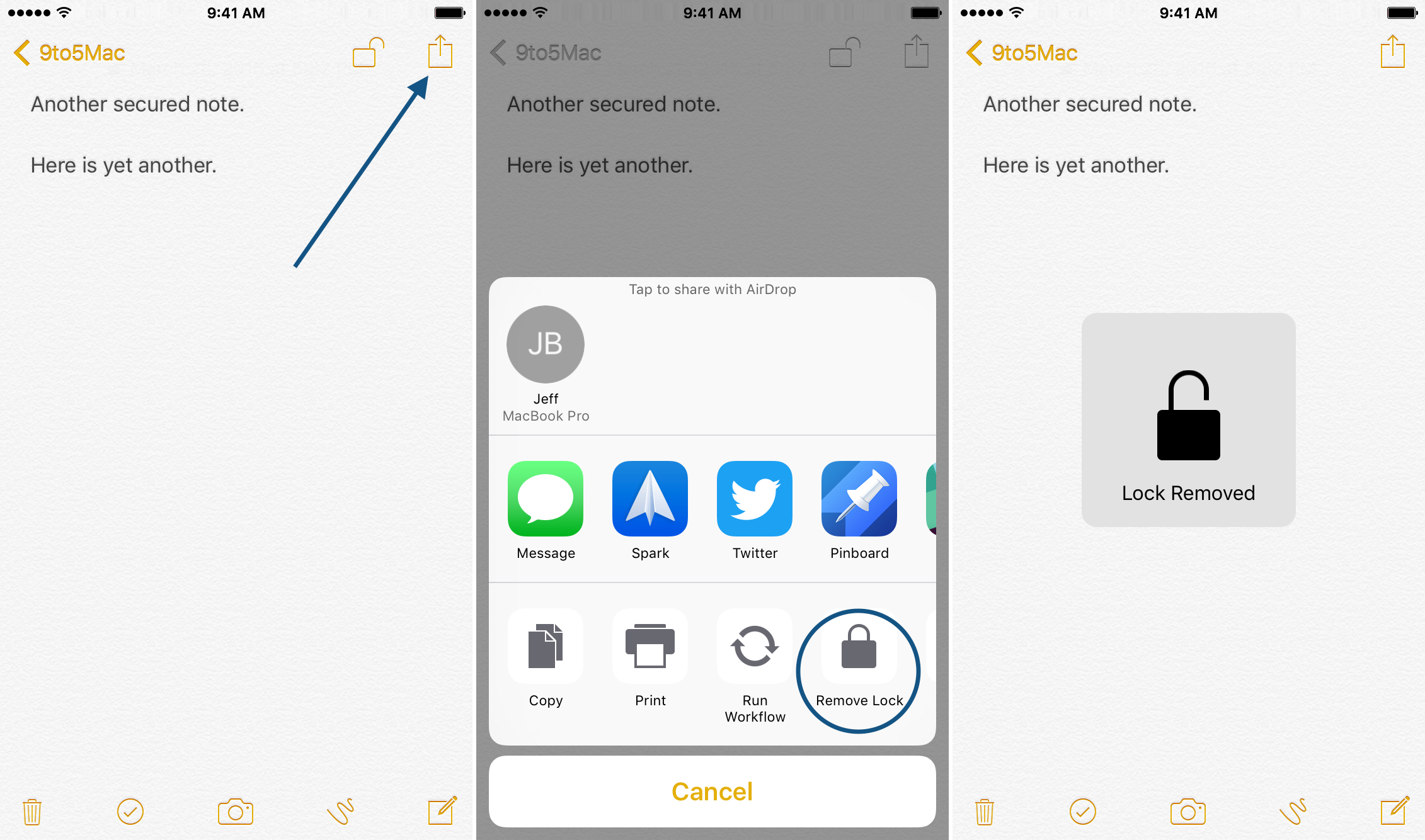 Remove Lock secured notes iOS 9.3