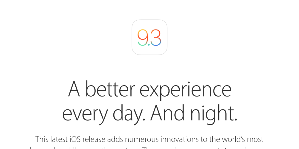 Apple releases iOS 9 3 for iPhone, iPad and iPod touch