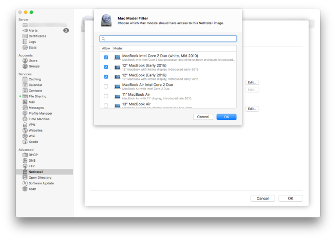 OS X Server 2016 12-inch MacBook reference