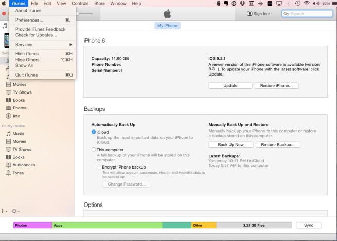 iTunes 12 preferences
