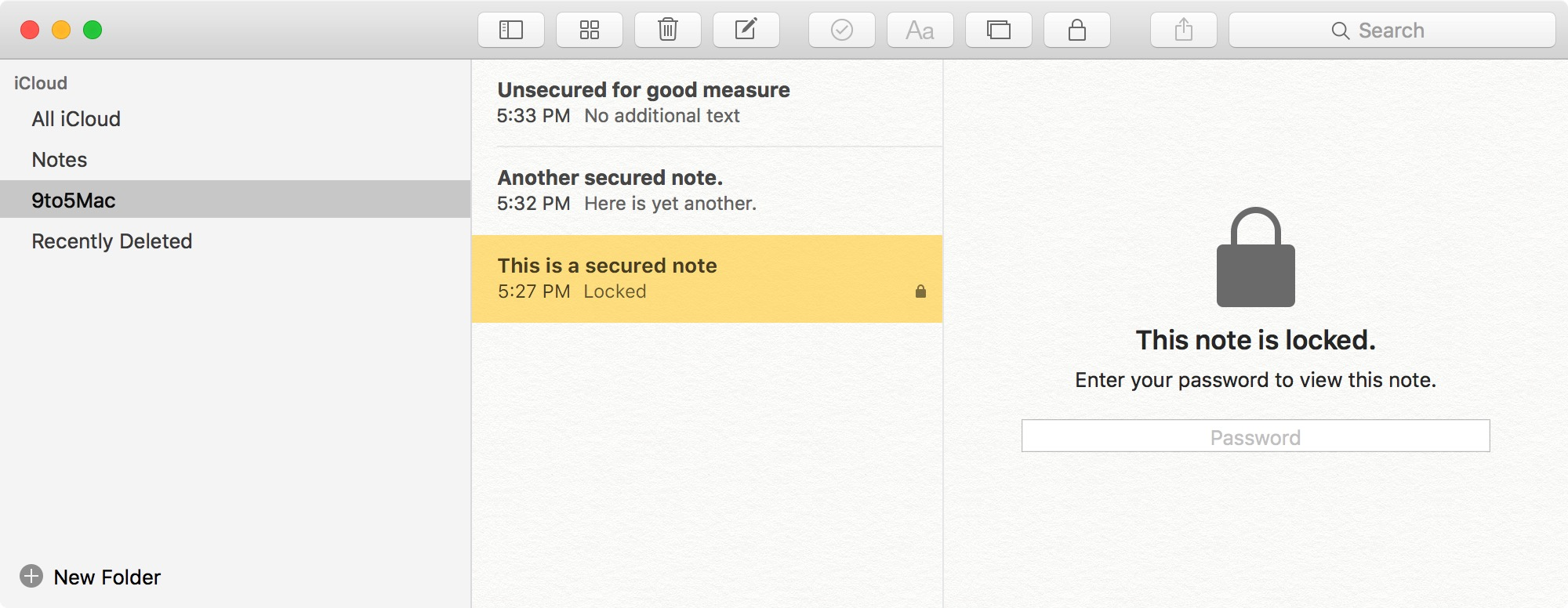 Secured Notes OS X 10.11.4