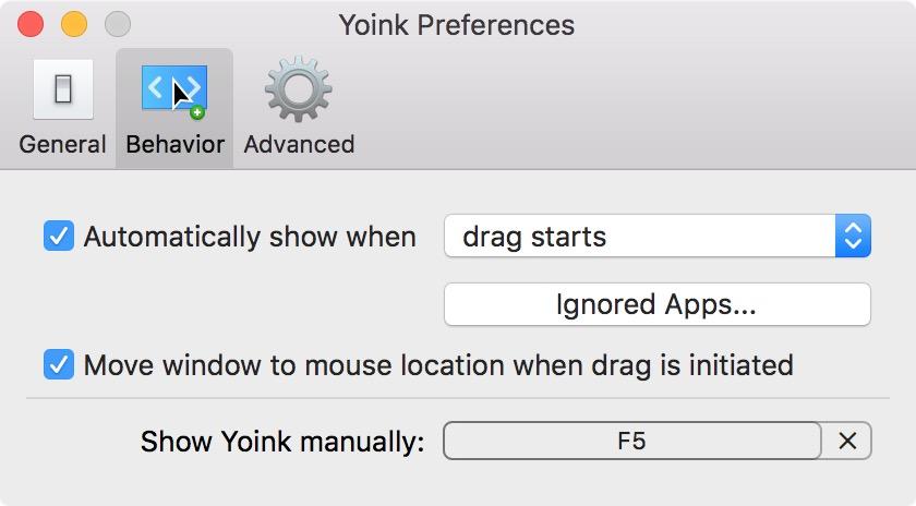 Yoink Preference Panel