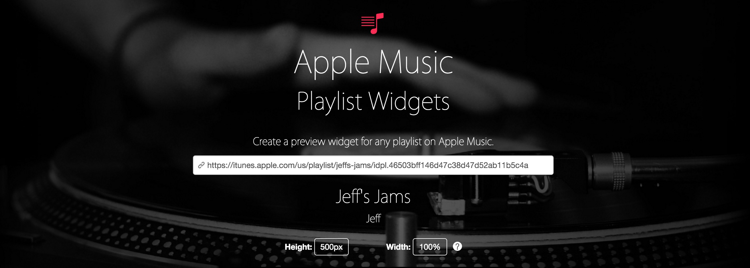 Apple Music Playlist Preview Widget
