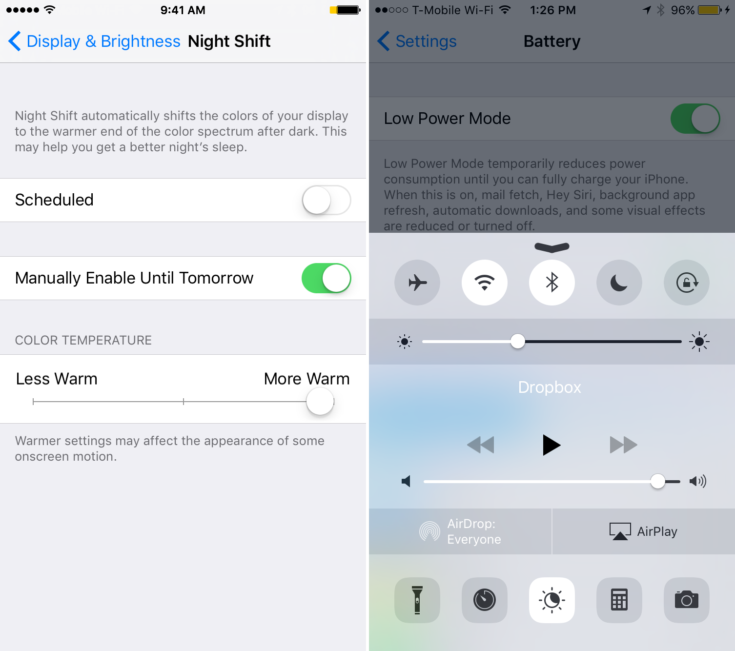 Low Power Mode Night Shift iOS 9.3.2 beta 2