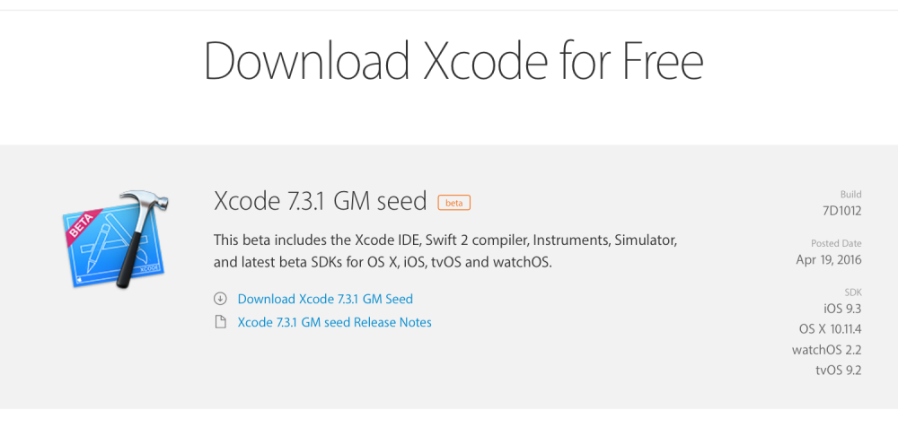 Apple releases Xcode 7 3 1 GM with bug fixes to developers