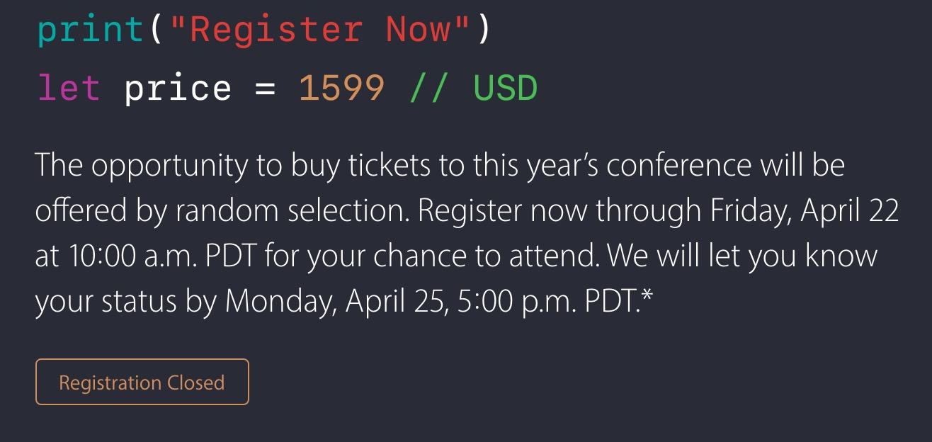 WWDC 2016 Registration Closed