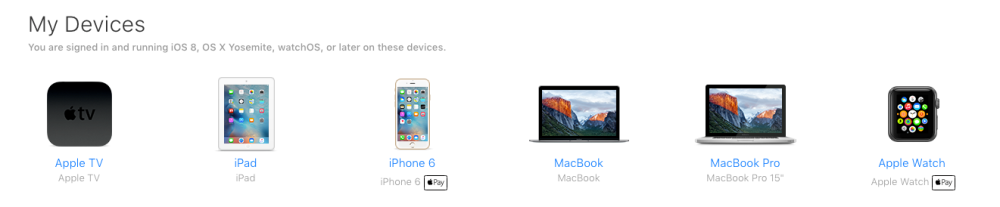 A list of all the Apple devices currently associated with an iCloud account