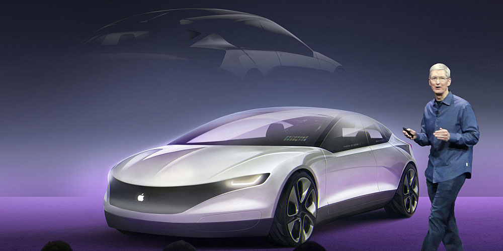 A Tesla-style concept of the Apple Car from CarWow