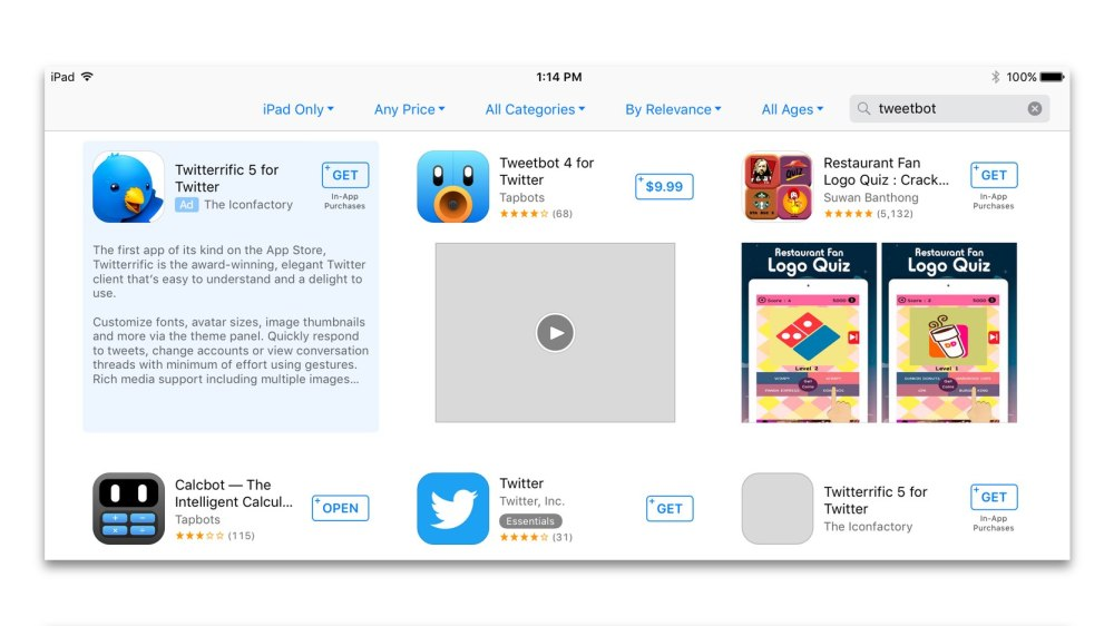 App Store search results when looking for Tweetbot on iOS 10 beta 1