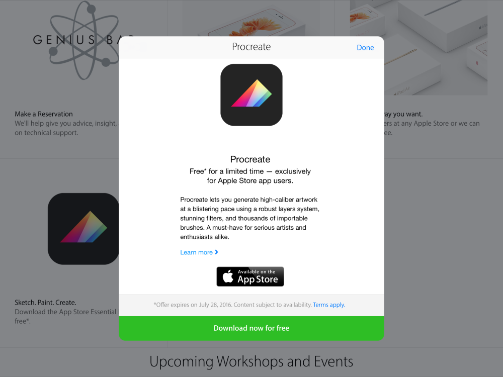 Apple offering free download of sketching app Procreate via