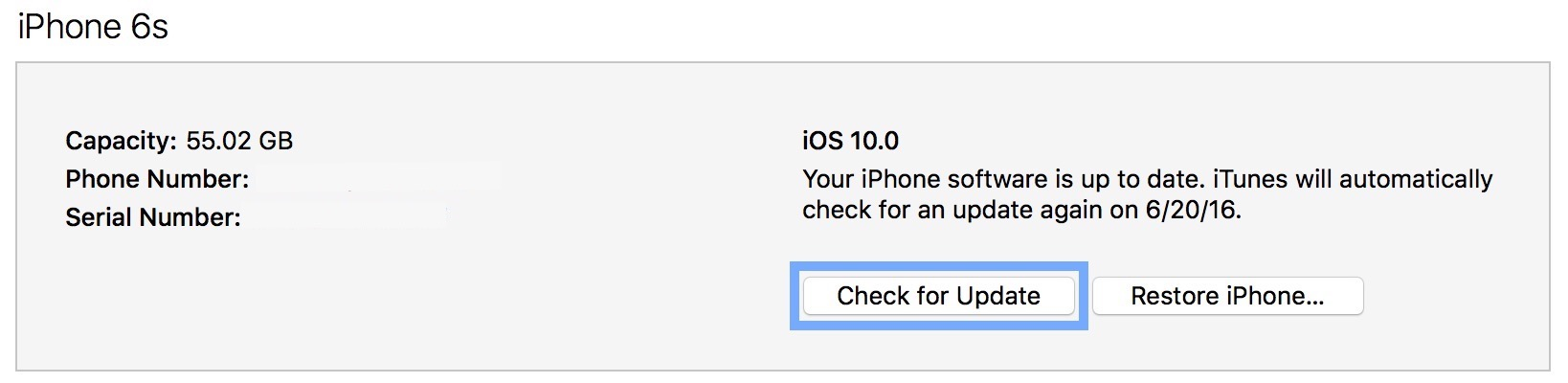 iOS 10 iTunes Check for Update Downgrade