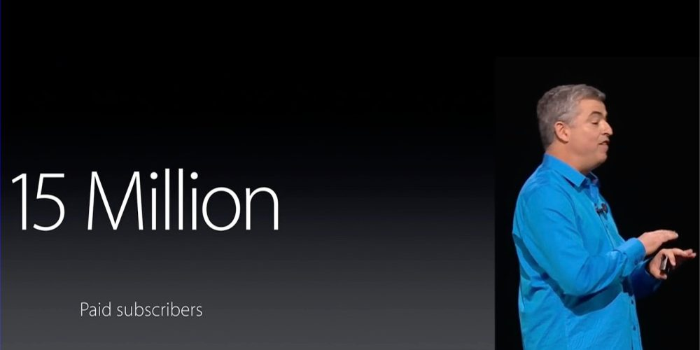 Apple Music 15 million paid subscribers