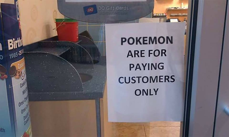 A cafe refuses entry to pole who just want to catch a Pikachu.