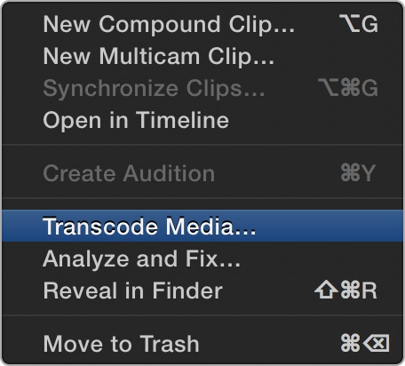 Transcode media Final Cut Pro X