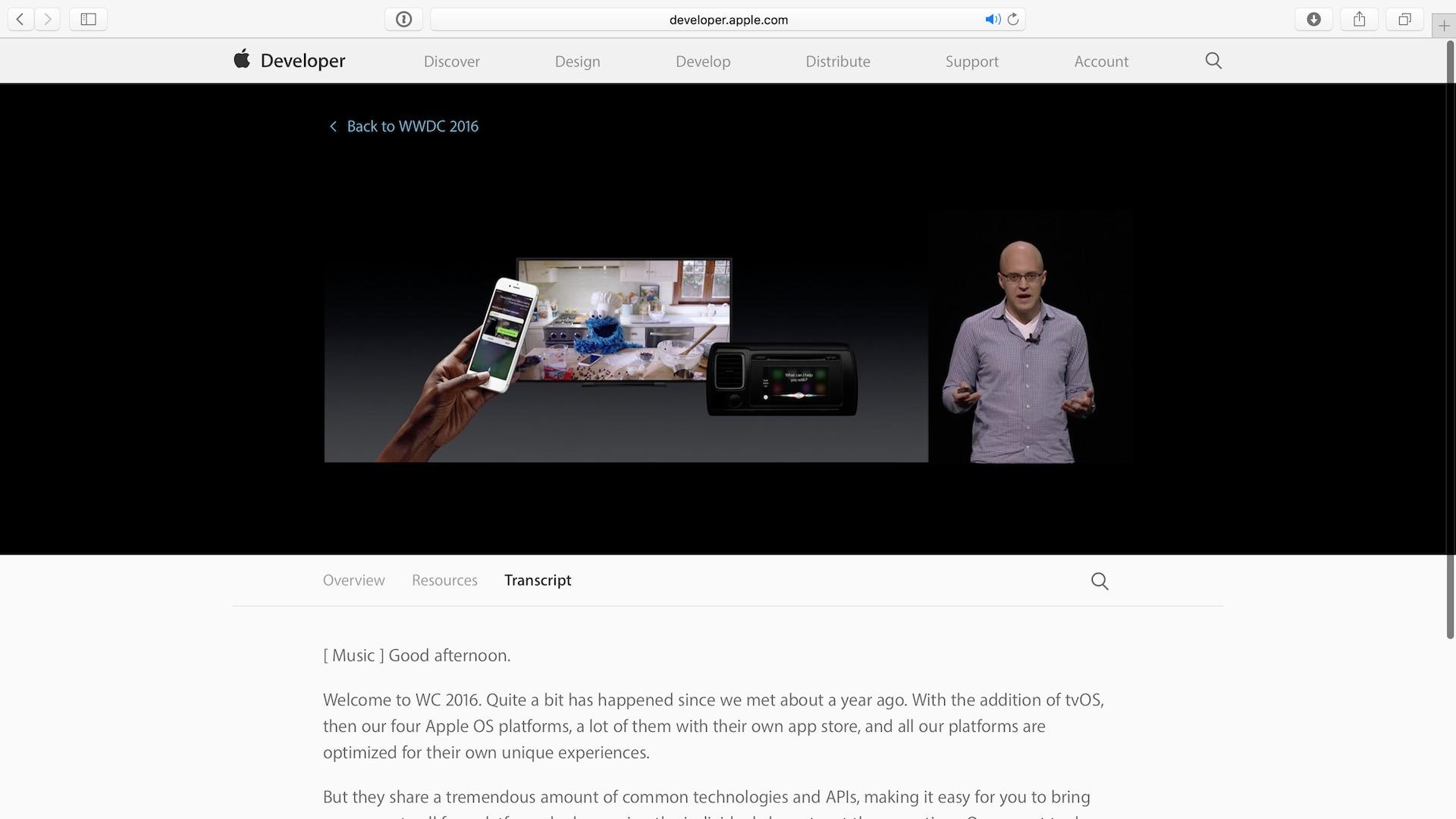 WWDC 2016 Video Transcripts