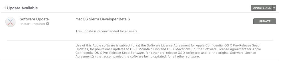 macOS Sierra beta 6