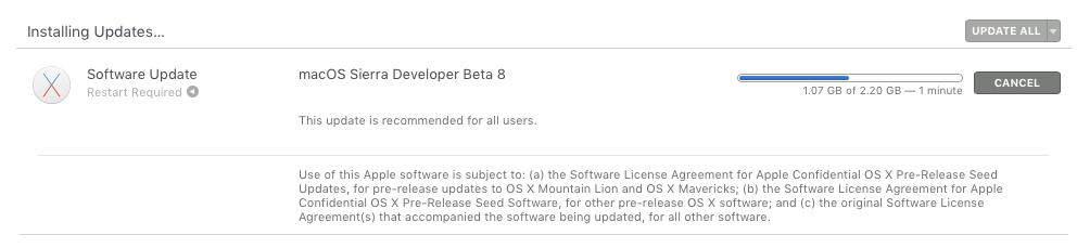 macOS Sierra beta 8