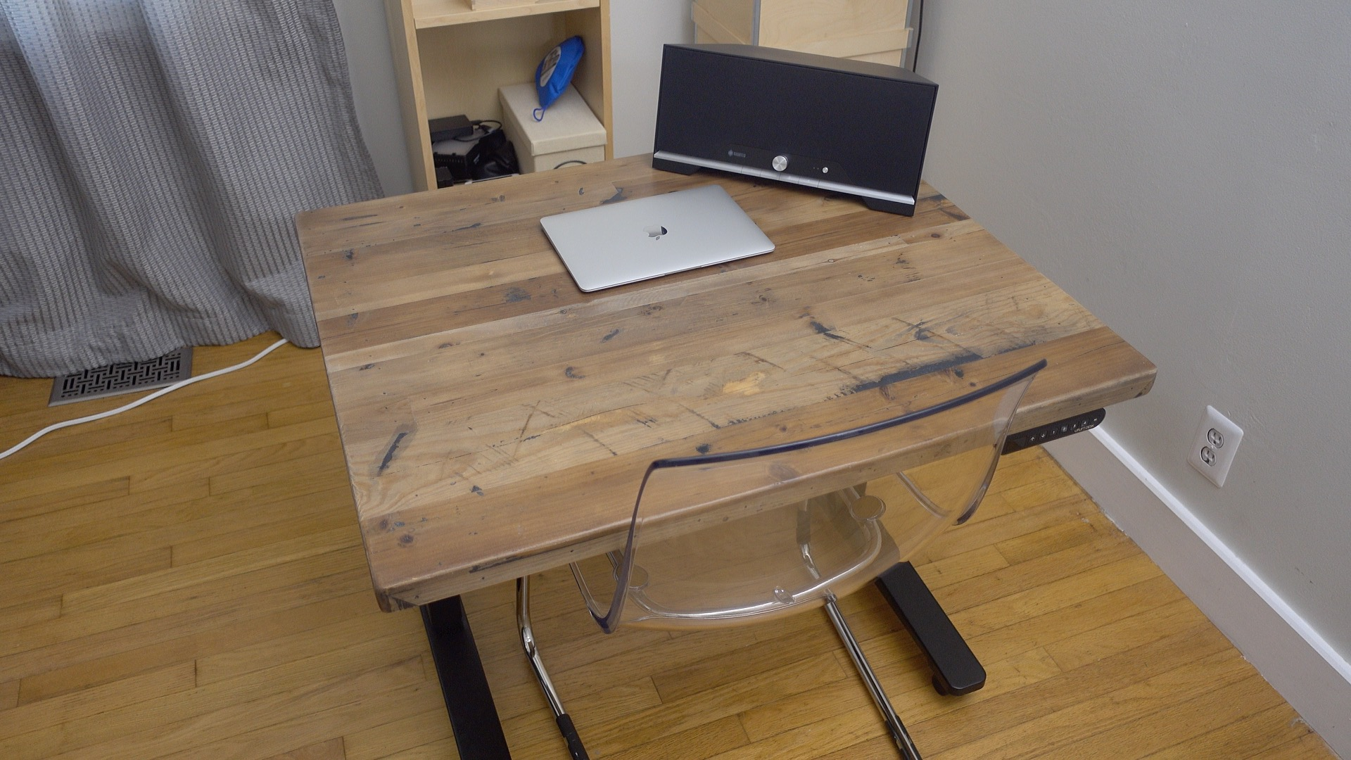 hands on uplift adjustable height standing desk features real wood