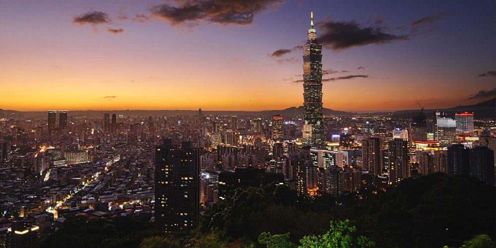 Sunset over Taiwan's capital, Taipei